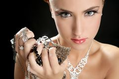 Ambition And Greed In Fashion Woman With Jewelry Stock Photography