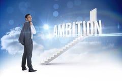 Ambition contre des étapes menant à la porte fermée dans le ciel Image stock