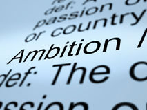 Ambition Definition Closeup Showing Aspirations Royalty Free Stock Image
