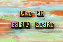 Ambition early start begin positive attitude letterpress quote. Ambition get early start begin positive attitude typography phrase message challenge work joy stock photos