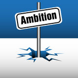 Ambition plate. Colorful illustration with a plate having the text ambition, coming out from an ice crack Royalty Free Stock Images