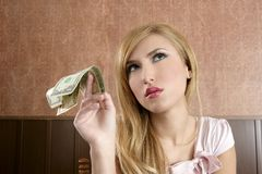 Ambition retro woman lots of dollar money notes Royalty Free Stock Photo