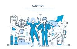 Ambition, succès dans le travail, accomplissement, direction, communication, contrôle et gestion illustration libre de droits