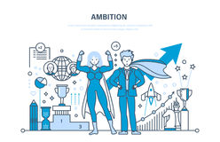 Ambition, success in work, achievement, leadership, communication, control and management. Ambition, success in work, achievement, growth on the work and Royalty Free Stock Photo