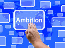 Ambition Touch Screen Means Target Aim Or Goal Royalty Free Stock Photography