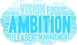 Ambition Word Cloud. On a white background Royalty Free Stock Images