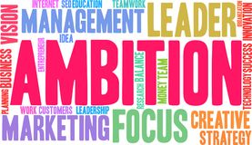 Ambition Word Cloud. On a white background Stock Photography