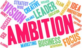 Ambition Word Cloud. On a white background Royalty Free Stock Photo