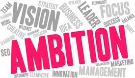 Ambition Word Cloud. On a white background Stock Photo