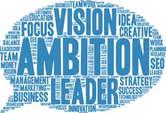 Ambition Word Cloud. On a white background Royalty Free Stock Photography