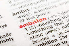 Ambition Word Definition. In Dictionary Close Up stock photography