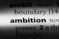 Ambition. Word in a dictionary.  concept royalty free stock photography