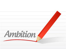 Ambition written on a white piece of paper. Illustration design Royalty Free Stock Photography