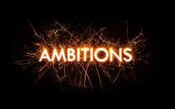 AMBITIONS title word in glowing sparkler Royalty Free Stock Image