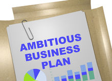 Ambitious Business Plan concept. 3D illustration of AMBITIOUS BUSINESS PLAN title on business document Stock Photography