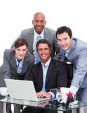 Ambitious business team working at a computer Royalty Free Stock Photos