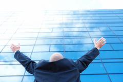 Ambitious Businessman standing and looking upwards Stock Photography