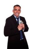 Ambitious hispanic executive holding cash money Royalty Free Stock Photos