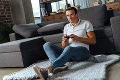 Ambitious persistent man determined winning Stock Image