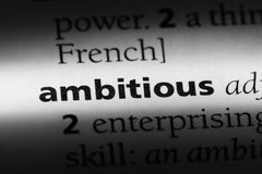 Ambitious. Word in a dictionary.  concept stock photography