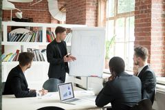 Ambitious worker presenting business ideas on flipchart stock photography