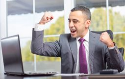 Ambitious Young Businessman Succeeded Stock Photography