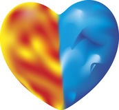 An ambivalent heart. Vector illustration of a fire ice heart, isolated Stock Image