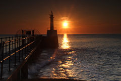 Amble Harbour at dawn. Northumberland England Uk Europe Stock Image