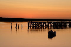 Amble Harbour sunrise. Sunrise reflections royalty free stock images