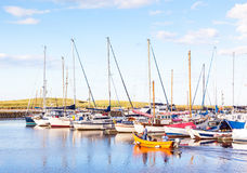 Amble Marina. Yachts moored at Amble Marina, on the banks of the River Coquet in the unspoilt Northumberland countryside of England Royalty Free Stock Photography