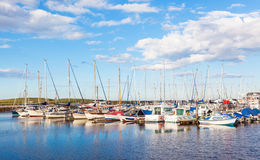 Amble Marina. Yachts moored at Amble Marina, on the banks of the River Coquet in the unspoilt Northumberland countryside of England Royalty Free Stock Photos