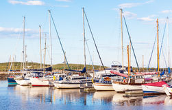 Amble Marina. Yachts moored at Amble Marina, on the banks of the River Coquet in the unspoilt Northumberland countryside of England Stock Photography