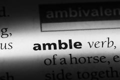 Amble. Word in a dictionary.  concept Royalty Free Stock Images