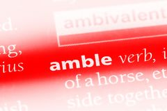 Amble. Word in a dictionary.  concept Stock Images