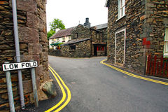 Ambleside, Lake District. Old street with stone houses Royalty Free Stock Photo