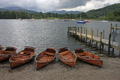 Ambleside, Lake Windemere. Rowing boats on Lake Windemere Royalty Free Stock Photos