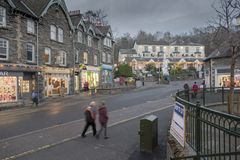 Ambleside Village centre English Lake District. Showing shops and people Royalty Free Stock Photo