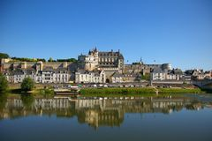 Amboise castle. Beautiful Amboise castle with reflections in Loire river Stock Photo