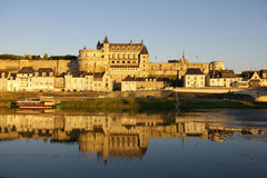Amboise castle. Sunset picture of beautifull castle in Amboise, France Royalty Free Stock Image
