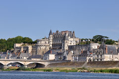 Amboise castle. The city of Amboise, France. View from the other side of Loire river Royalty Free Stock Photography