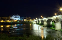 Amboise castle. And Loire valley at night, France Stock Photography
