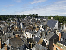 Amboise from the Castle. Aerial picture of Amboise, taken from the balconies of Amboise Castle Stock Photos