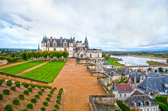 Amboise castle, France. Chateau Amboise is a major tourist attraction in Loire Valley. The castle was built in 1492 by the will of Charles VIII, who was born and Stock Photography