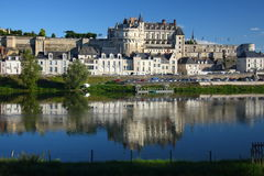 Amboise castle in Loire Valley. Beautiful Amboise castle in Loire Valley and its reflection in water Stock Photography