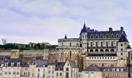 Amboise Castle and Village. The majestic Amboise Castle and the town of Amboise nestled at its' base Royalty Free Stock Photo
