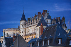 Amboise Chateau at night Royalty Free Stock Images