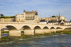 Amboise Chateau and old bridge Royalty Free Stock Photo