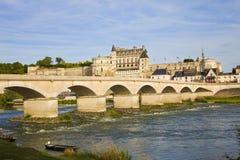 Amboise Chateau and old bridge Royalty Free Stock Image