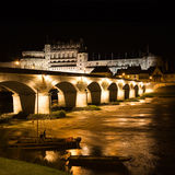 Amboise Chateau and old bridge at night Royalty Free Stock Image