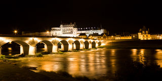 Amboise Chateau and old bridge at night Royalty Free Stock Photo